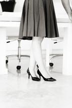 woman's feet in heels