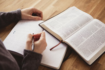 writing in a journal and reading a Bible