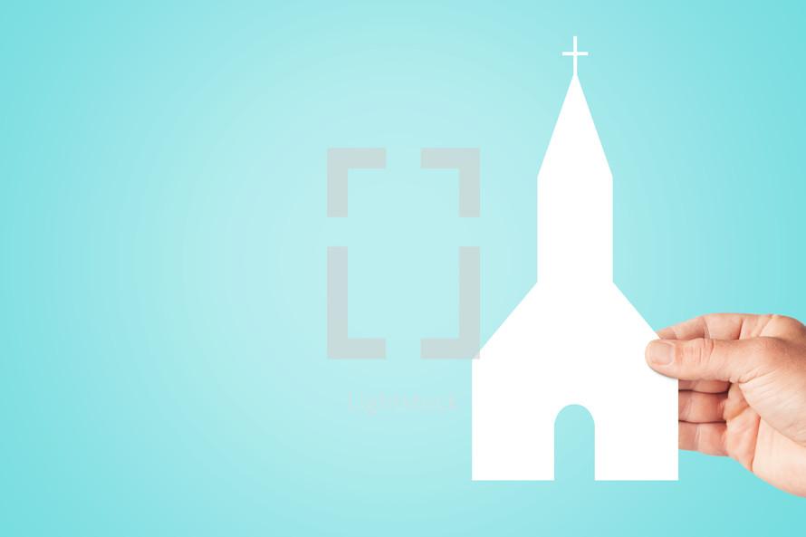 paper cut out of a church