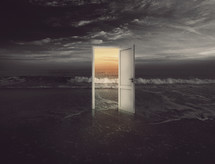 open door on a beach - opportunity