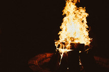 flames in a fire in a fire pit