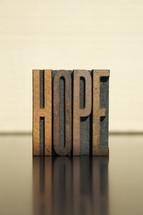 word hope in wood blocks