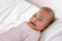 a happy infant girl