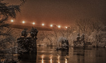 bridge in an ice storm at night