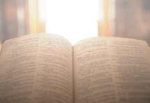 open Bible and sunlight through a window