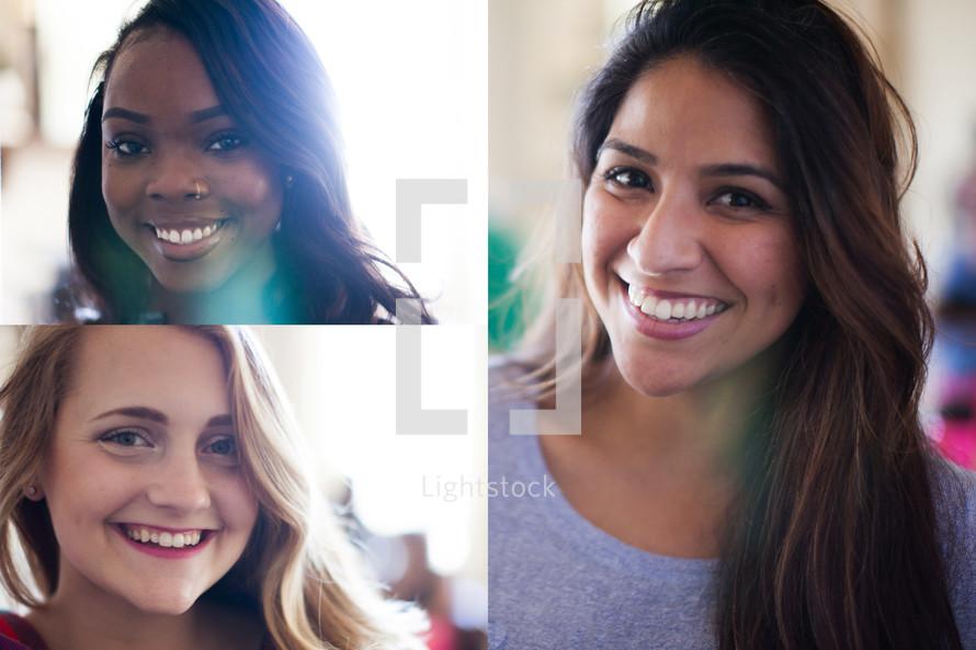 head shot of three women