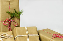 wrapped gifts in brown paper