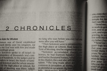 Open Bible in book of 2 Chronicles