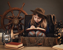 a girl reading a book and a travel scene