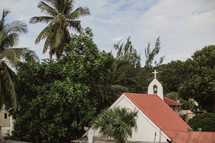 church roof and tree tops