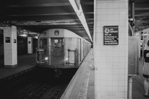 Subway in an underground station.