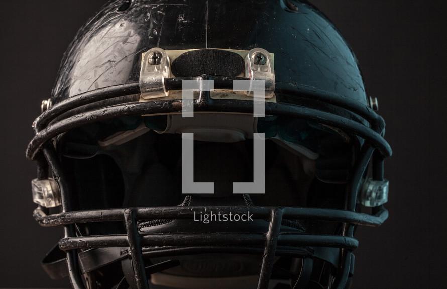 an old football helmet