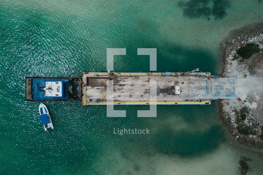 aerial view over a barge in the Bahamas