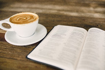 cappuccino and open Bible