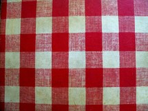 A Picnic Table Cover Bench Cover with the all too familiar checkered stripe pattern of red and white that you see on old fashioned picnic tables at churches, family gatherings and neighborhood barbecues. Nothing speaks of the good ol outdoors in summertime like a picnic and this design pattern is reminiscent of Americana just like something out of a Norman Rockwell painting that reminds us of summer, the great outdoors and family dinners around the picnic table.