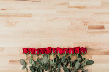 row of long stem red roses
