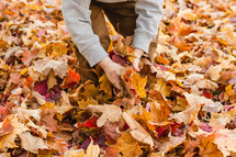 a child playing in fall leaves