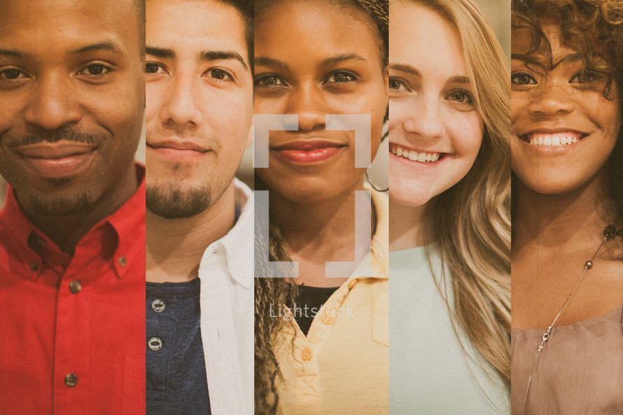 small group - faces of men and women