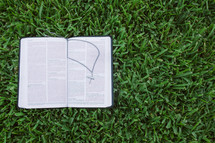 open Bible with a cross necklace in the grass