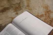 Bible open to the New Testament on a concrete floor.