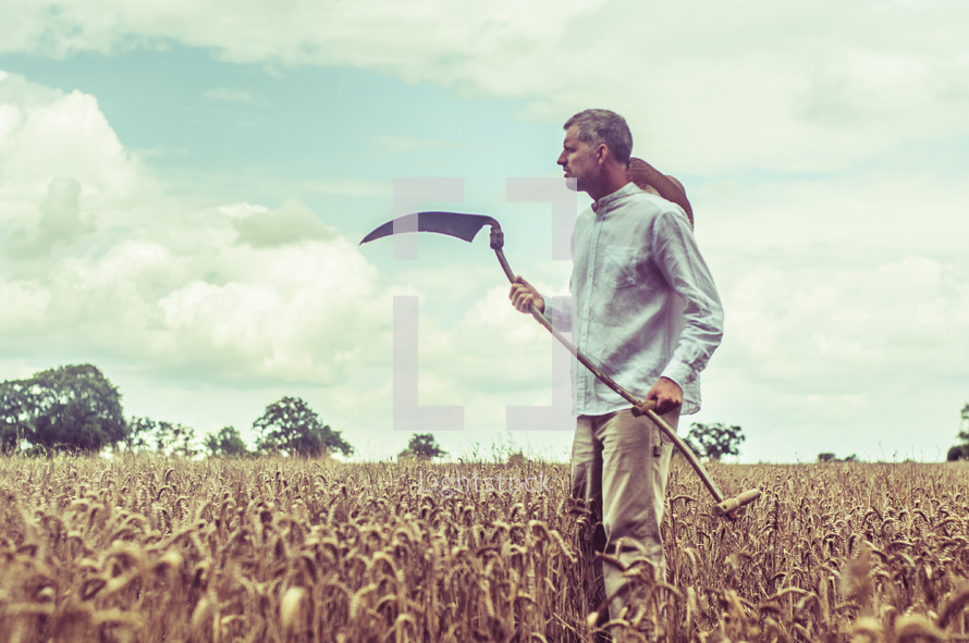 a man with a blade in a field