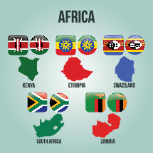 African countries, Kenya, Ethiopia, Swaziland, South Africa, Zambia, flags