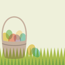 Easter basket, eggs, grass, icon