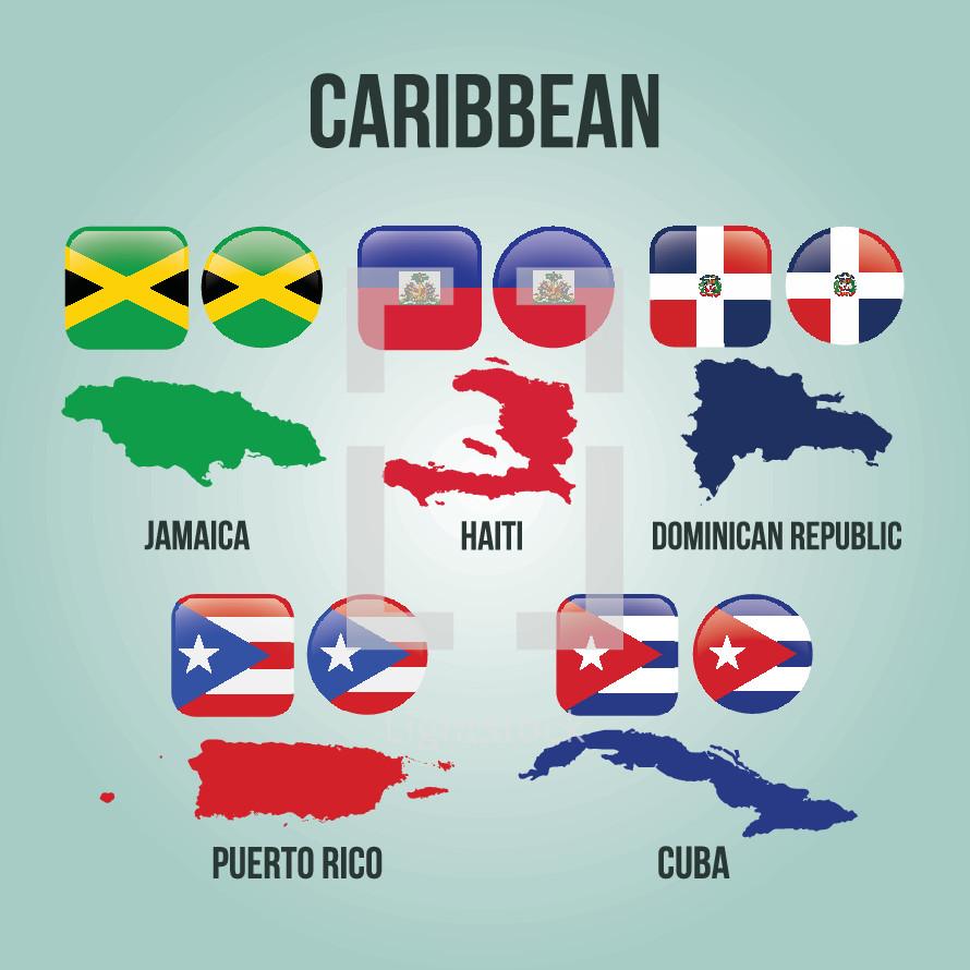 Caribbean countries, puerto rico, cuba, Haiti, Dominican Republic, Jamaica,  flags, illustration