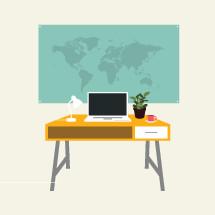 world map behind an office desk