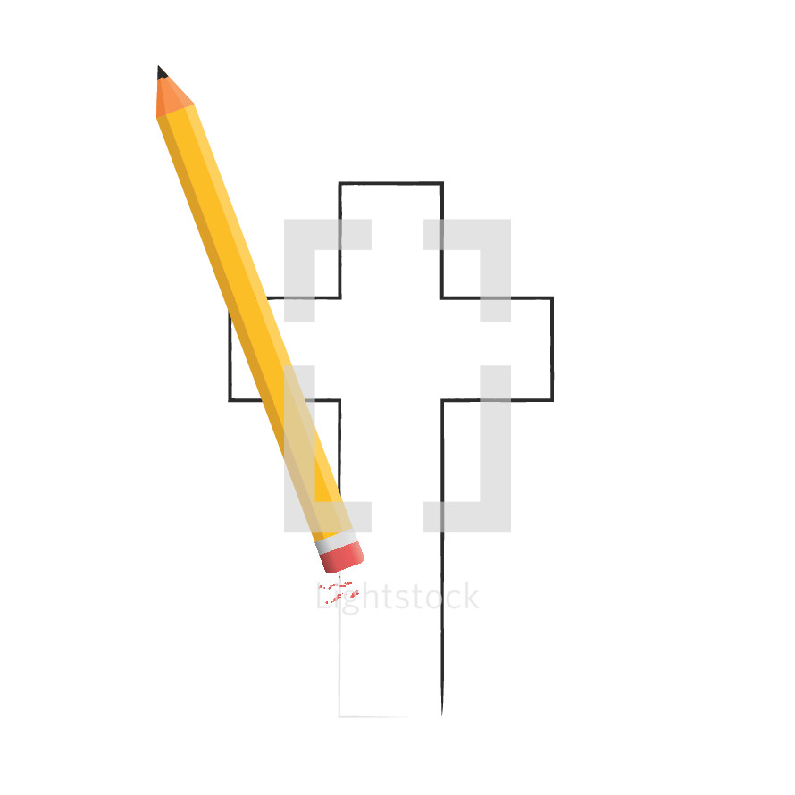 A pencil erasing a drawing of a cross.