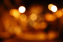 bokeh lights at night in a village