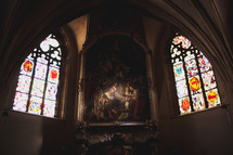 artwork and stain glass windows in Luxembourg Cathedral