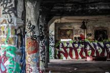 grafitti under a bridge