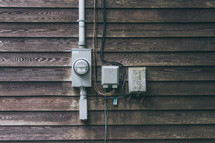 electric meter on an exterior wall
