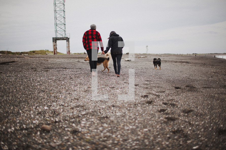 a couple holding hands and walking on a beach with dogs