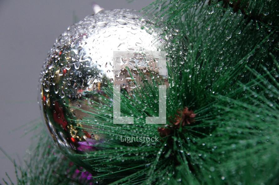 Silver ball on a Christmas tree