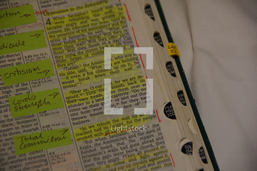 Marked and highlighted Bible scriptures from Nehemiah