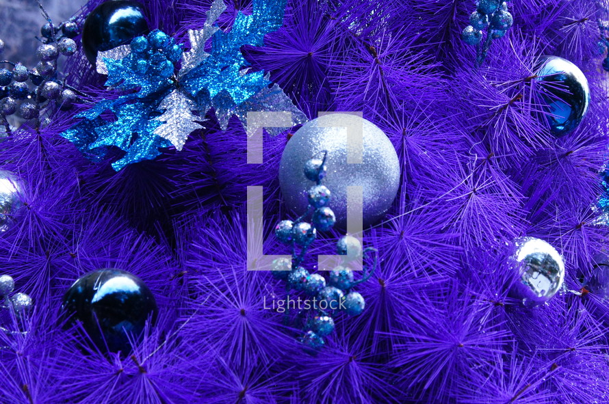Blue purple Christmas tree decor