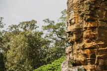 wall of temple ruins in Cambodia