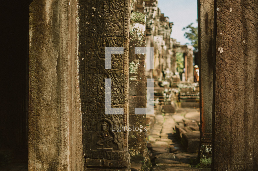 columns from ruins in Cambodia