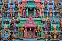 Colorful Hindu temple with hindu gods.