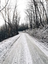 snow on a dirt road
