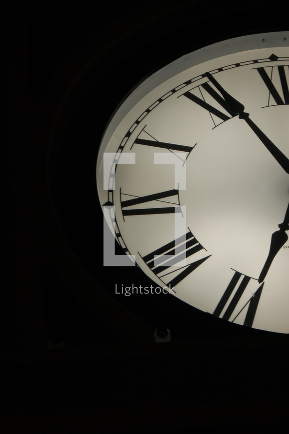 Half of the face of a clock