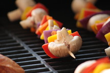 shish kabobs on a grill