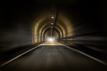 Bright light at the end of a tunnel.