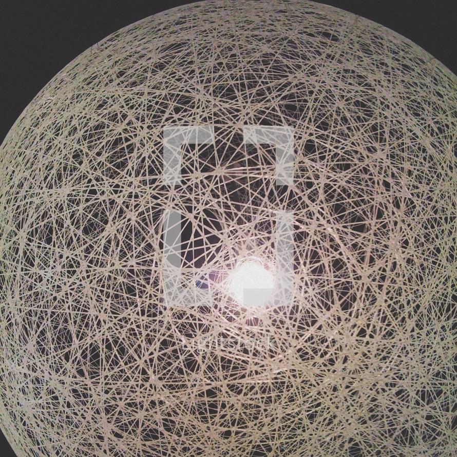 light bulb under a weaved ball of yarn