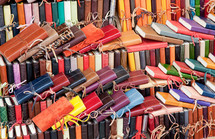 Leather diaries for sale in the markets of Florence, Italy.
