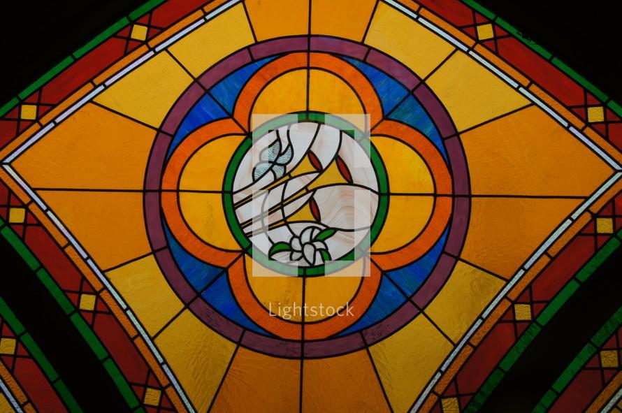 Music Fanfare Trumpets, Stained Glass Window, Suzhou Three Self Church.