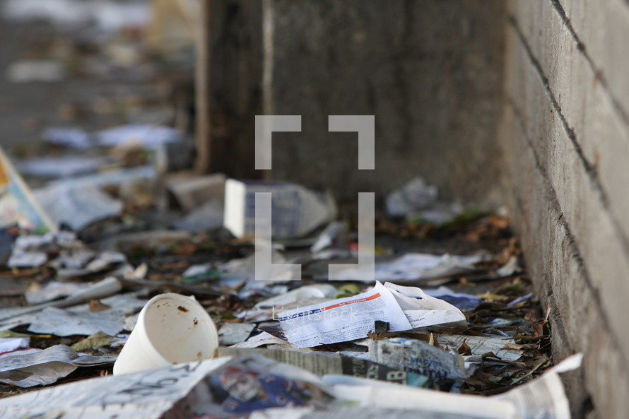 Litter of trash on the street