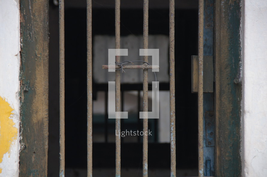 metal bars on a window